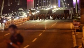 "ISTANBUL, TURKEY - JULY 15: Turkish soldiers block Istanbul's Bosphorus Bridge on July 15, 2016 in Istanbul, Turkey. Istanbul's bridges across the Bosphorus, the strait separating the European and Asian sides of the city, have been closed to traffic. Reports have suggested that a group within Turkey's military have attempted to overthrow the government. Security forces have been called in as Turkey's Prime Minister Binali Yildirim denounced an ""illegal action"" by a military ""group"", with bridges closed in Istanbul and aircraft flying low over the capital of Ankara. (Photo by Gokhan Tan/Getty Images)"